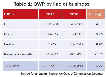 GWP by line of business